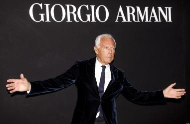 "Giorgio Armani during the ""One Night Only Roma"" event, a marathon style that includes the exhibition ""Eccentrico"" and a fashion parade. Rome, Italy, 5 giugno 2013. ANSA/ CLAUDIO PERI"